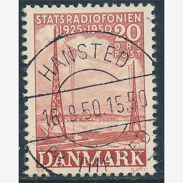 20 øre Rød Statsradiofonien Lux Stemplet Hansted 16 8 50 1950